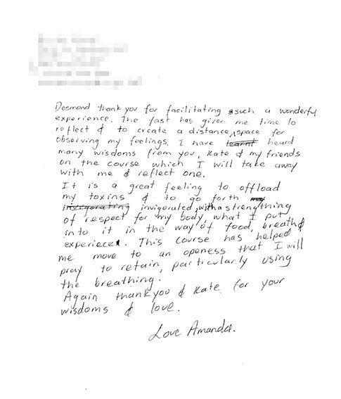 Testimonial letter - Amanda
